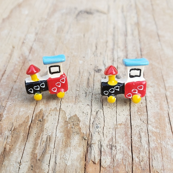 70's Handpainted Celluloid Little Toy Christmas Steam Engines 🚂🎄🎁🥰
